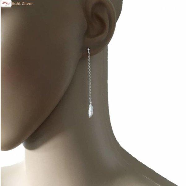 Zilveren lange veer oorbellen stekertjes