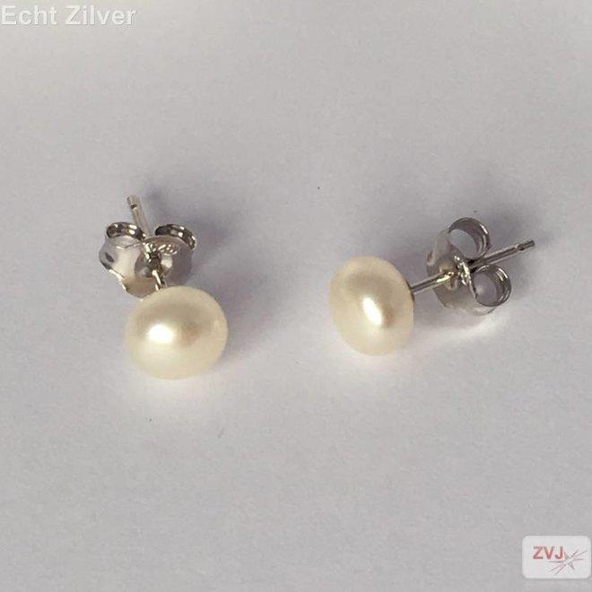 Zilveren gerhodineerde zoetwaterparel oorstekers 0.6 cm
