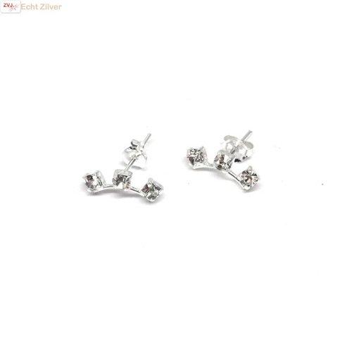 ZilverVoorJou Zilveren witte kleine kristal oorstekers