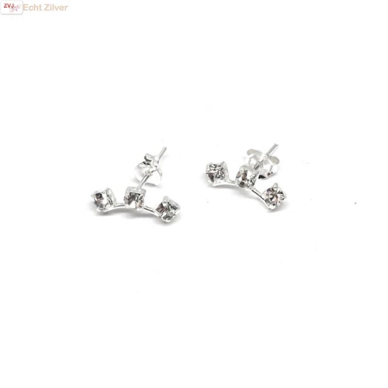 Zilveren witte kleine kristal oorstekers-3