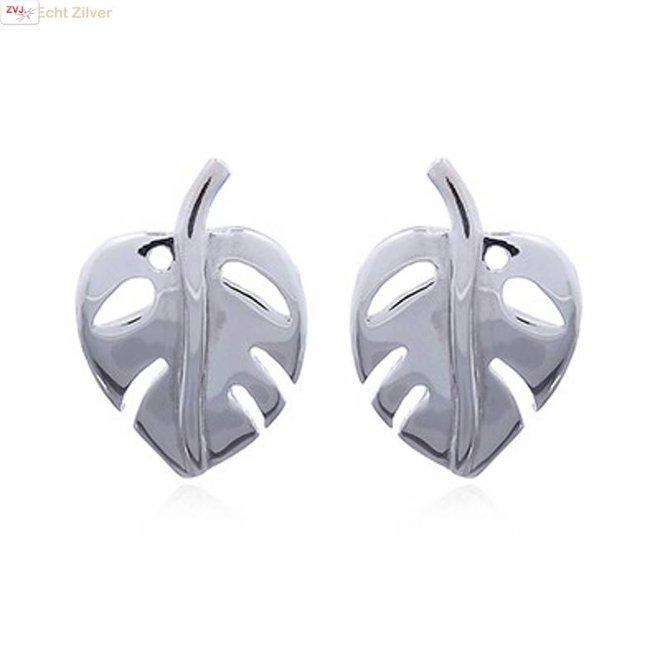 Zilveren Indian bean tree leaf oorstekers