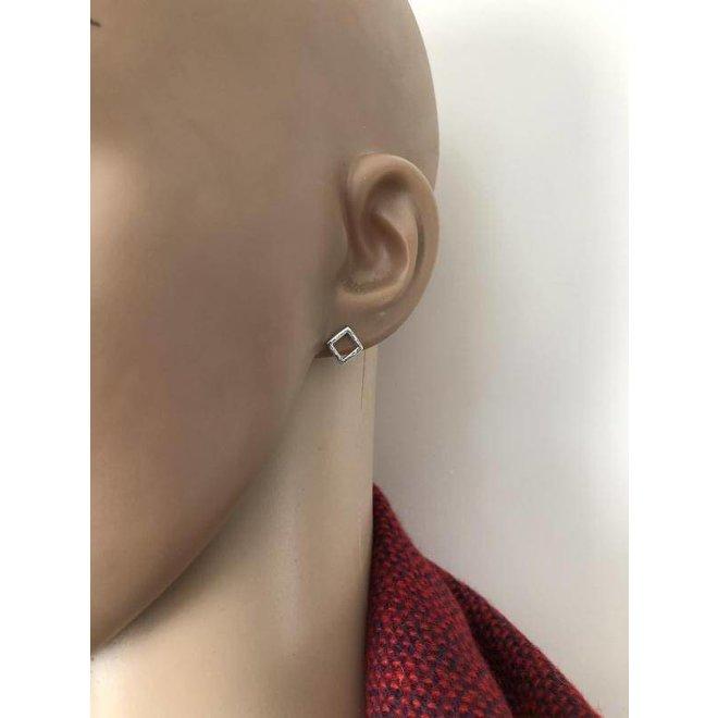 Zilveren hoogglans square oorstekers