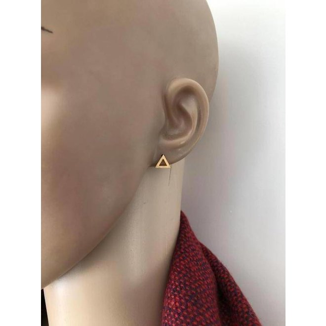 mat goud op zilver open triangel oorstekers