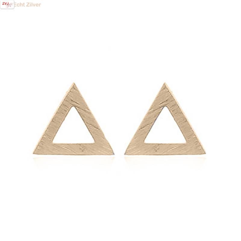 mat goud op zilver open triangel oorstekers-3