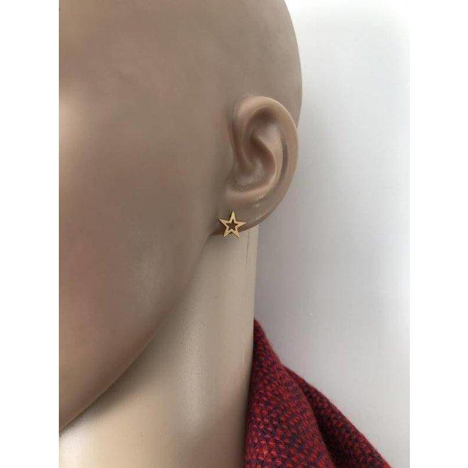 mat goud op zilver open ster oorstekers