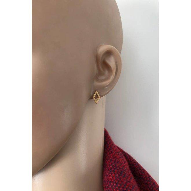 mat goud op zilver open ruit oorstekers
