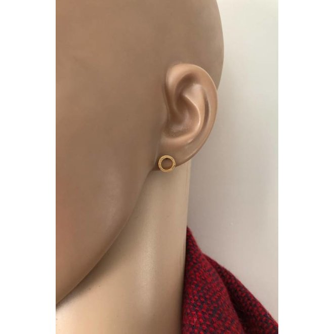 mat goud op zilver cirkel oorstekers