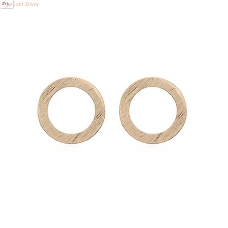 mat goud op zilver cirkel oorstekers-3