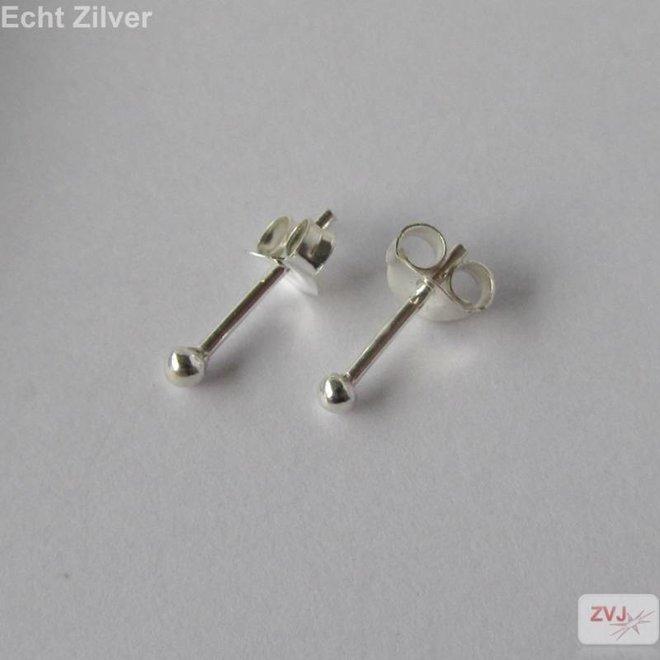 Zilveren kleine oorknopjes 2 mm balletjes