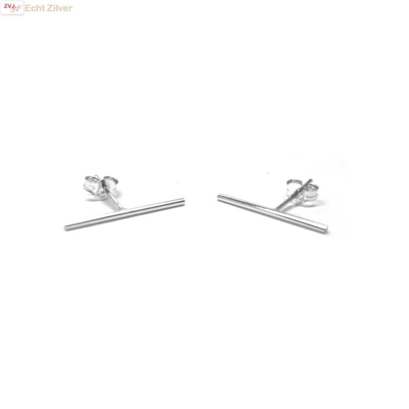 Zilveren lange staaf oorstekers-3