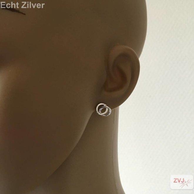 Zilveren links, 2 cirkels oorstekers