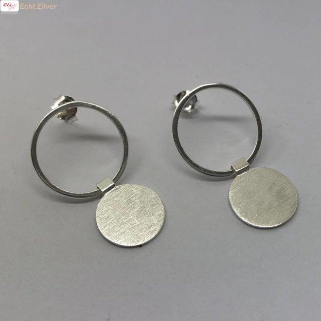 Zilveren oorbellen 2 cirkels hoogglans mat zilver