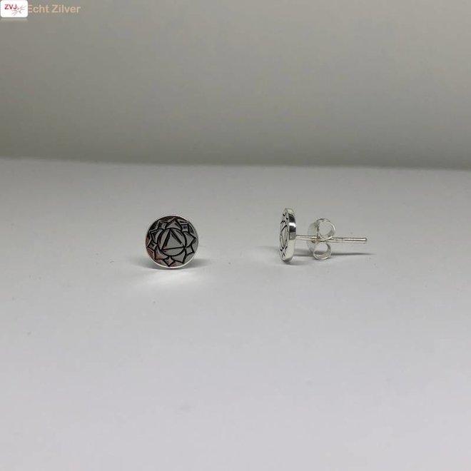 Zilveren ronde oorstekers navel chakra Solar plexus