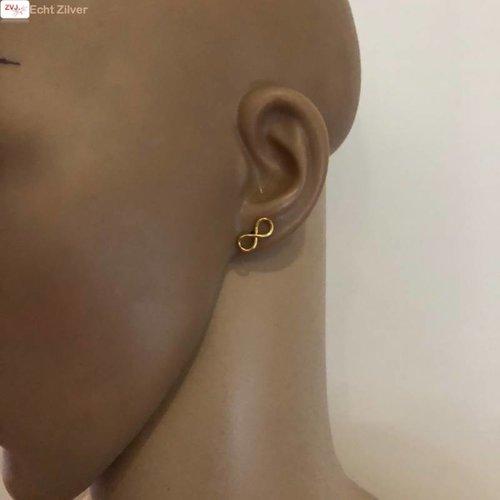 ZilverVoorJou Goud op zilver infinity Lemniscaat oorstekers