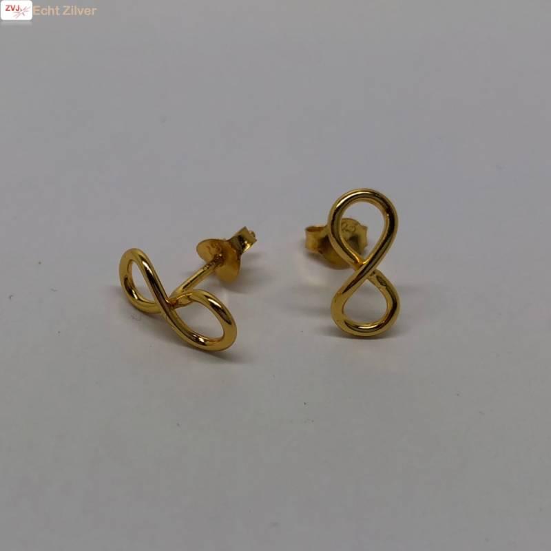Goud op zilver infinity Lemniscaat oorstekers-3