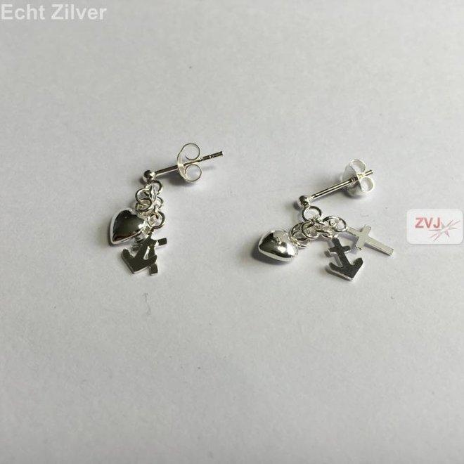 Zilveren hoop geloof en liefde oorstekers, hangers