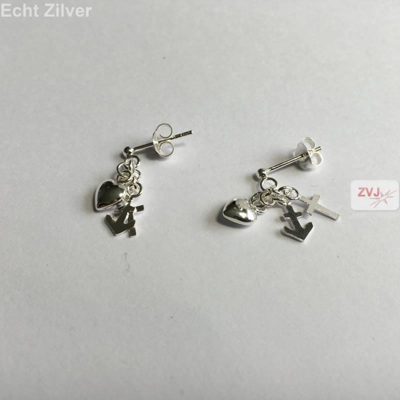 Zilveren hoop geloof en liefde oorstekers, hangers-3