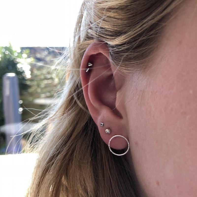 Zilveren cirkel oorstekers oorbellen-3