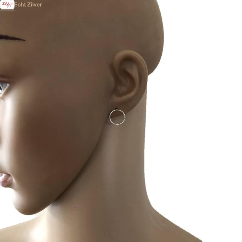 Zilveren cirkel oorstekers oorbellen-2