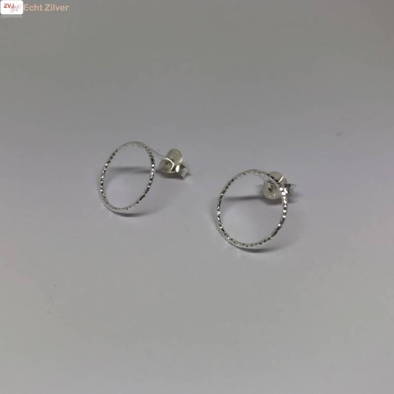 Zilveren cirkel oorstekers oorbellen-4