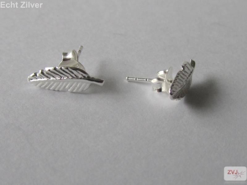 Zilveren kleine blad leaf oorstekers-3