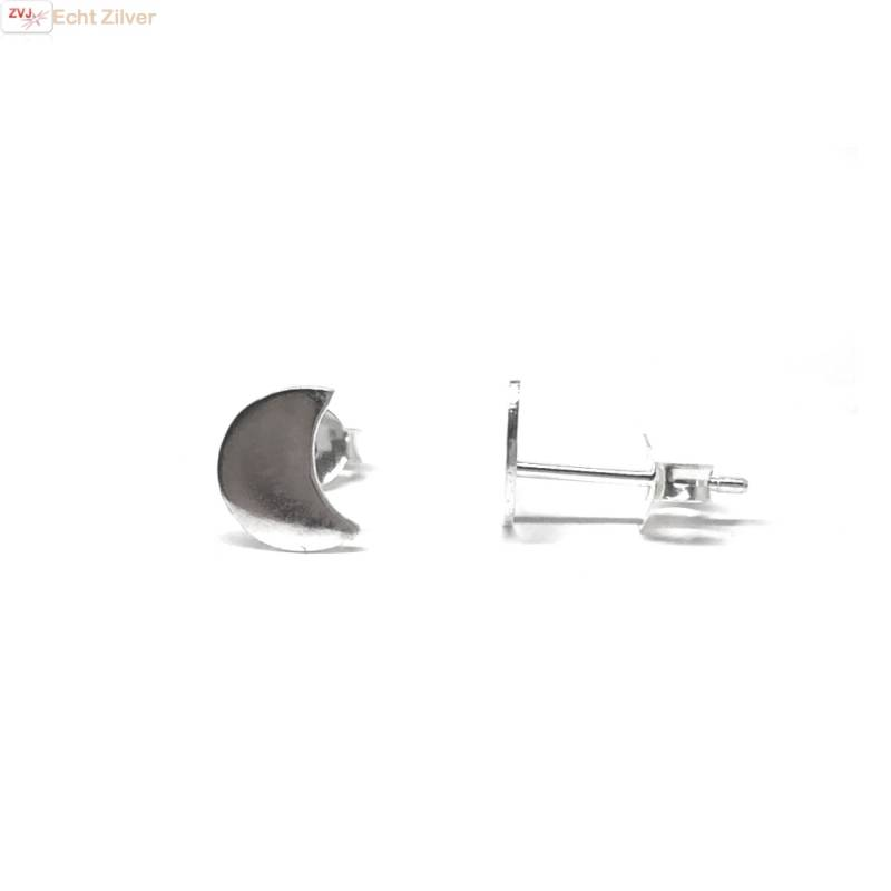 Zilveren kleine halve maan oorbellen-3