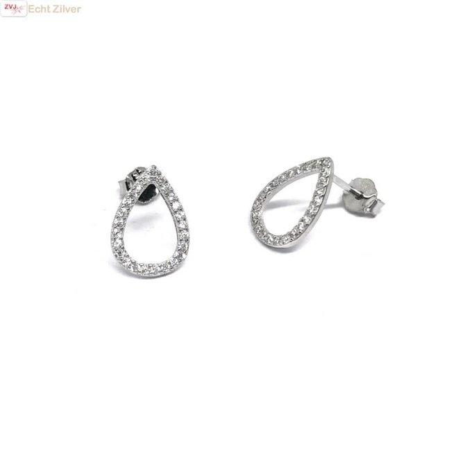 Zilveren open druppel witte zirkoon oorbellen