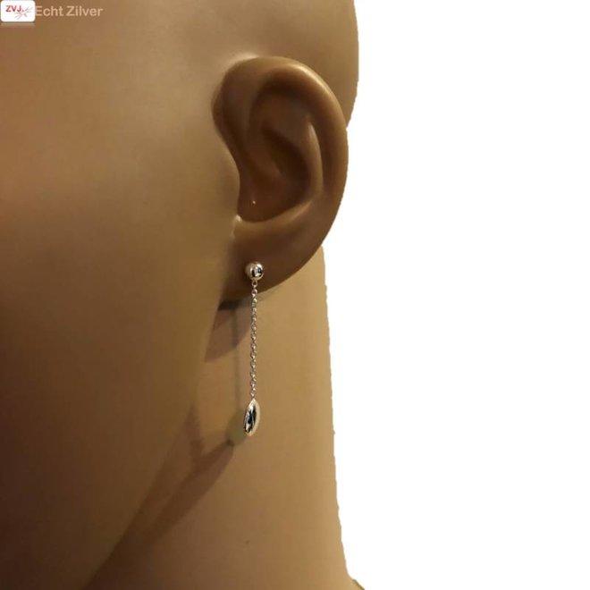 Zilveren oorstekers hangers met discus vorm