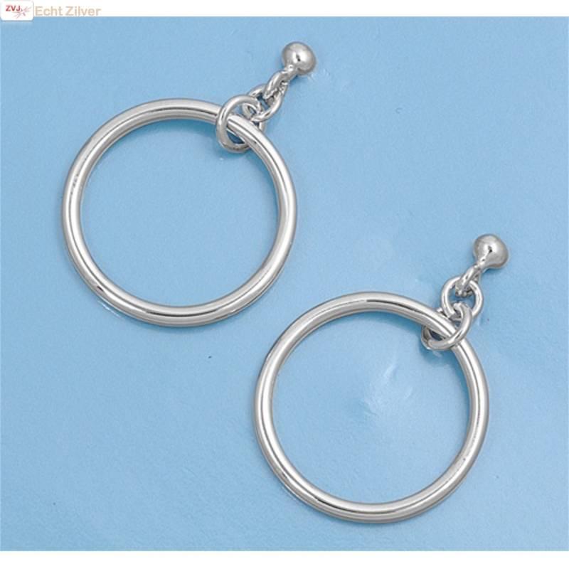 Zilveren oorstekers hangers met cirkel-3
