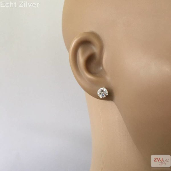 Zilveren 7 mm ronde witte zirkoon rhodium oorstekers