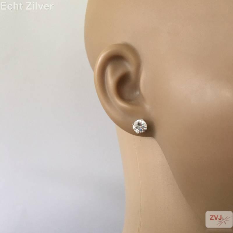 Zilveren 7 mm ronde witte zirkoon rhodium oorstekers-2