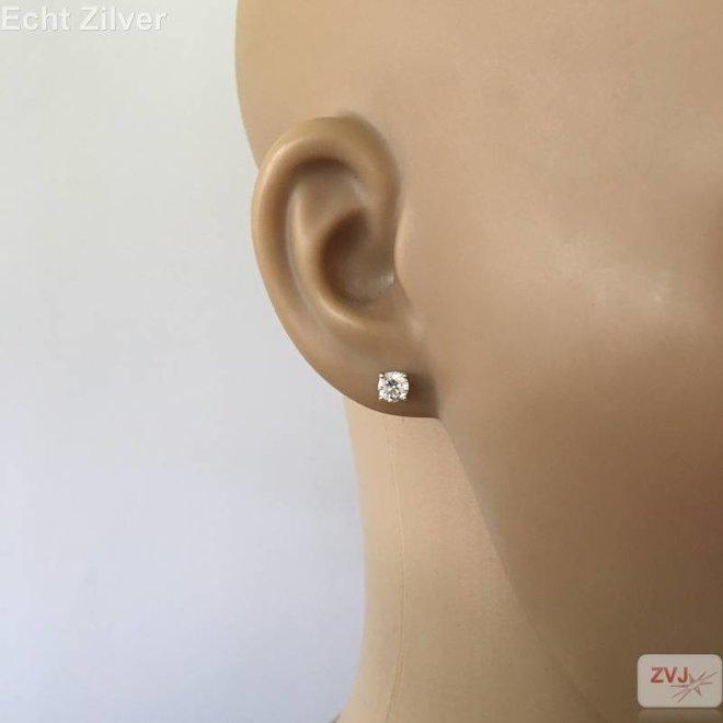 Zilveren 5 mm ronde witte zirkoon rhodium oorstekers
