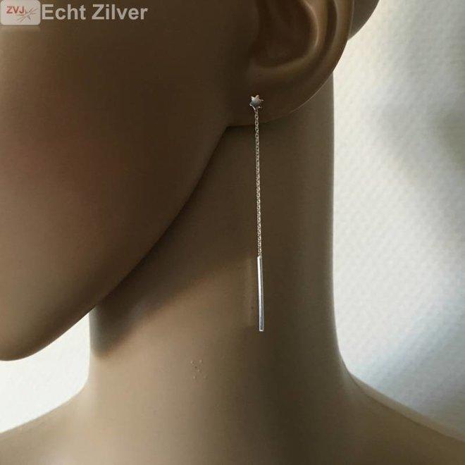 Zilveren mini david ster oorstekers met staaf ketting