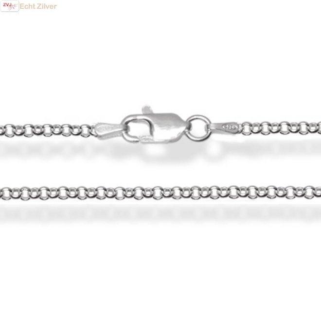 Zilveren rolo jasseron ketting 40 cm lang 2 mm breed