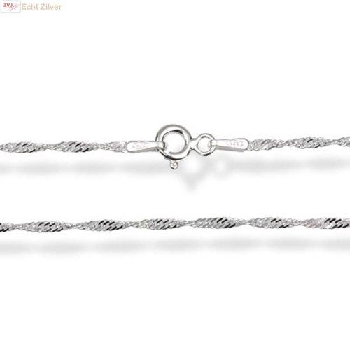 ZilverVoorJou Zilveren singapore ketting 40 cm en 1.5 mm breed