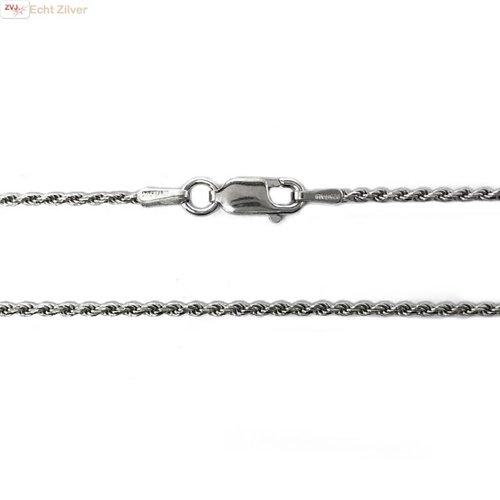 ZilverVoorJou Zilveren rhodium rope ketting 40 cm 1.4 mm