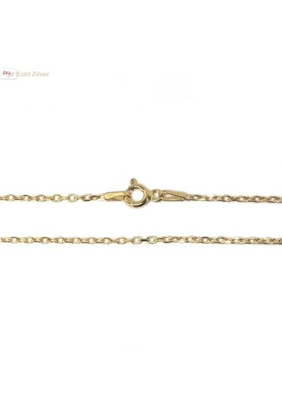 Goud op zilver kabel ketting 40 cm 1 mm