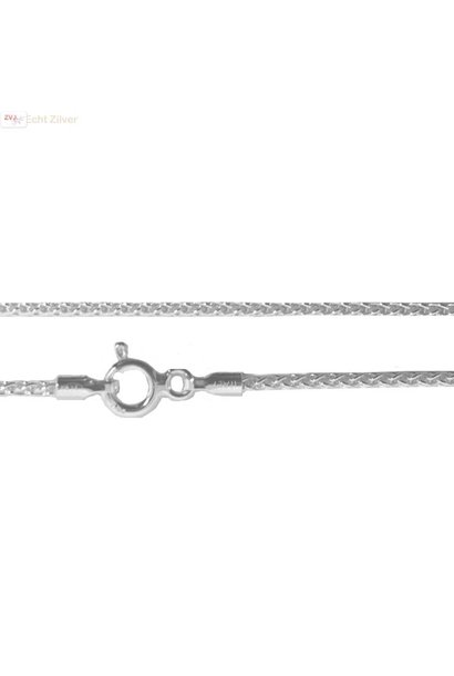 Zilveren kabel ketting 40 cm 1 mm breed