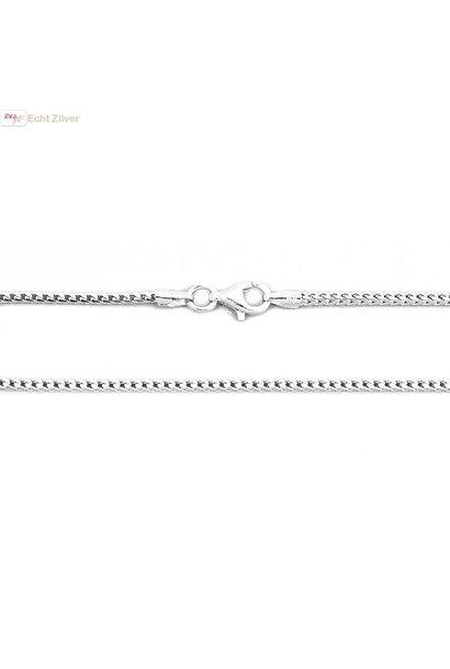 Zilveren vierkante slang ketting 40 cm geoxideerd
