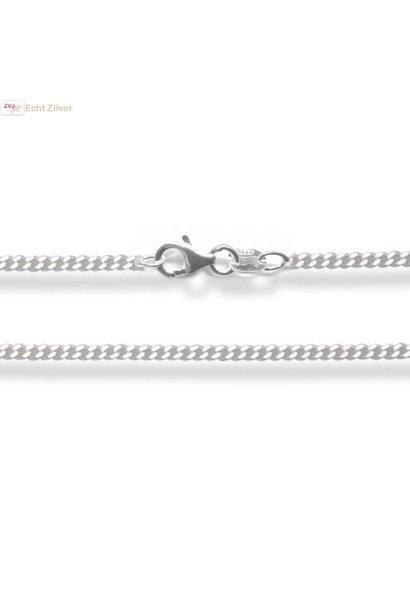 Zilveren gourmet ketting 42 cm lang 1.5 mm breed