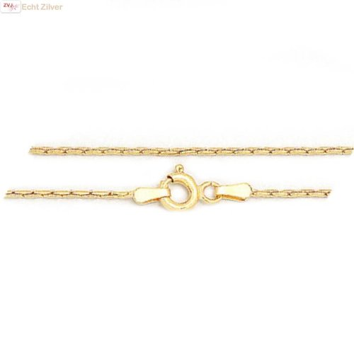 ZilverVoorJou Zilveren 18k geel goud vergulde 42.5 cm Cardano ketting