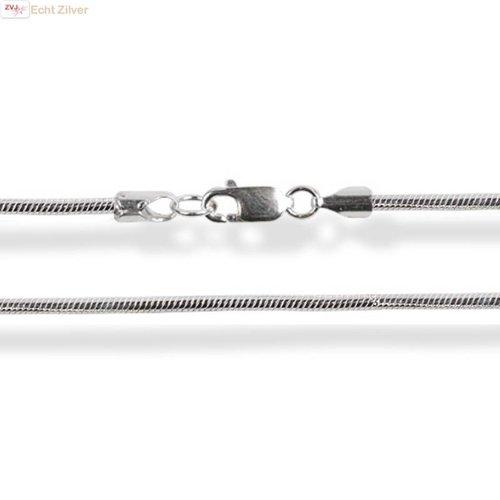 ZilverVoorJou Zilveren ronde slang ketting 42.5 cm 1 mm breed