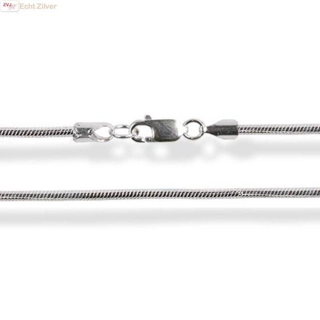 Zilveren ronde slang ketting 42.5 cm 1 mm breed