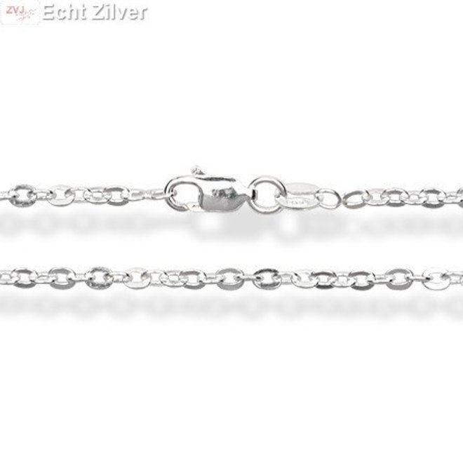 Zilveren ovale platte kabel ketting 45 cm en 1,8 mm breed