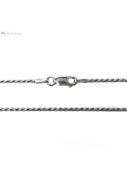 Zilveren rhodium rope ketting 45 cm 1.4 mm