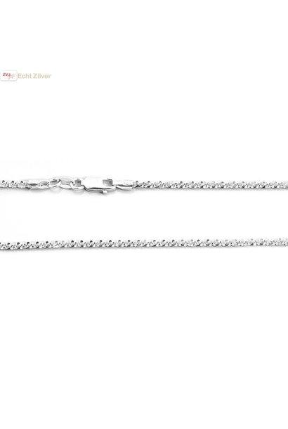 Zilveren sierlijk twist ketting 45 cm 2 mm
