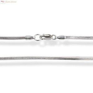 ZilverVoorJou Zilveren vierkante slang ketting 50 cm en 1 mm breed