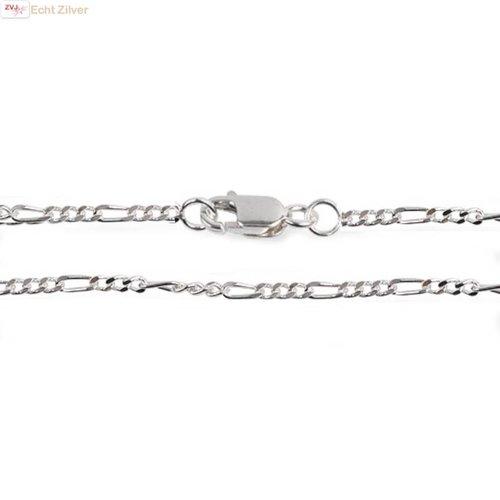 ZilverVoorJou Zilveren figaro schakel ketting 50 cm 1.5 mm breed