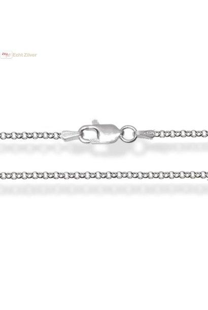 Zilveren rolo jasseron ketting 50 cm 1.5 mm breed