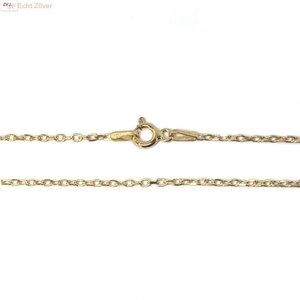 ZilverVoorJou Goud op zilver kabel ketting 50 cm 1 mm